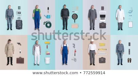 üzletember · dolgozik · asztal · pc · okostelefon · üzlet - stock fotó © master1305