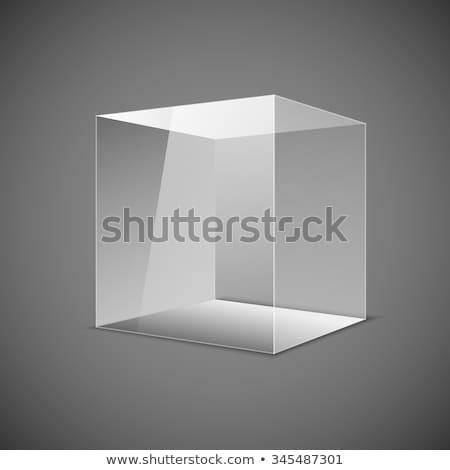 Soyut şeffaf kutu gri eps 10 Stok fotoğraf © rommeo79