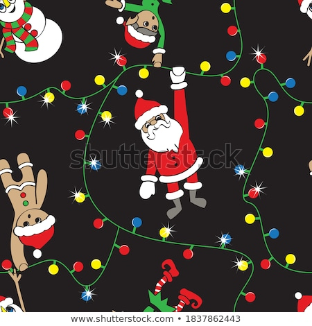 Santa's Elf is Hanging Christmas Lights Stock photo © AlienCat