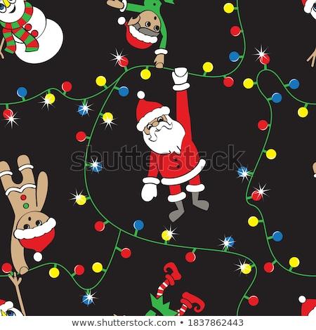Santa's Elf is Hanging Christmas Lights stock photo © AlienCat