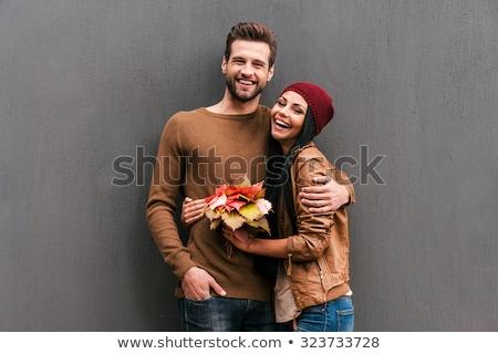 Zarif çift bakıyor kamera akıllı kız Stok fotoğraf © majdansky