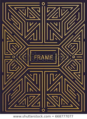 Vector geometric linear style frame - art deco text decoration.  Monogram Stock photo © Fractal86