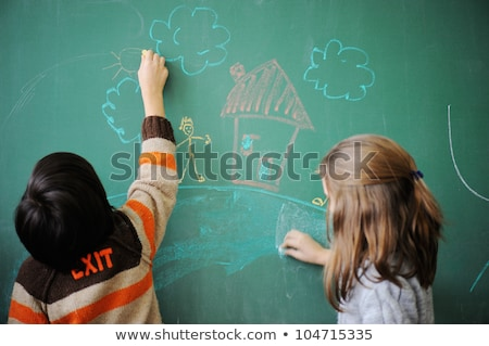Kettő iskolás gyerekek iskolatábla virág lány arc Stock fotó © zurijeta