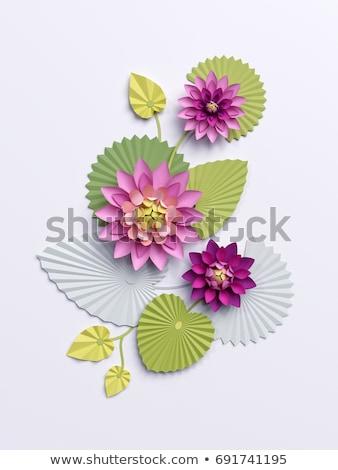zen · lelie · bloemen · 3d · render · roze · bladeren - stockfoto © elenarts