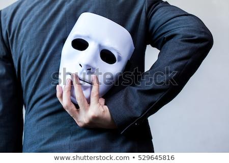 Hombre criminal blanco mano diversión máscara Foto stock © Elnur