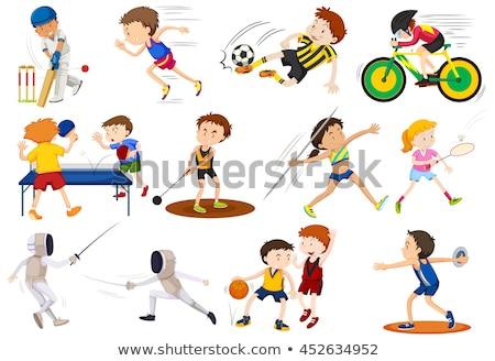 Molti persone giocare tennis da tavolo illustrazione sport Foto d'archivio © bluering