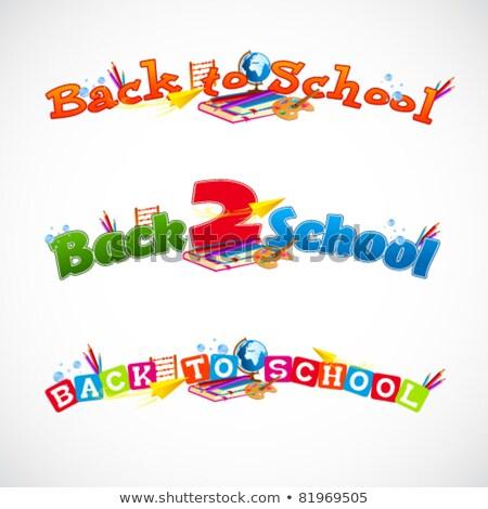 Vissza az iskolába narancs ceruza virág textúra könyv Stock fotó © carodi