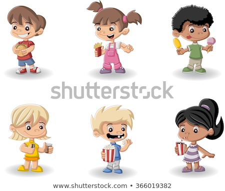 boys and girls eating fastfood stock photo © bluering