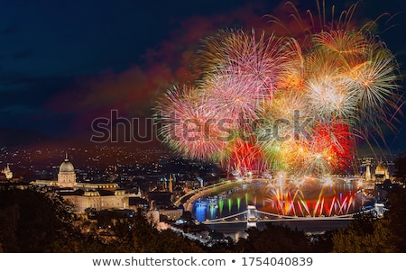 Stock photo: Fireworks over Budapest, Hungary