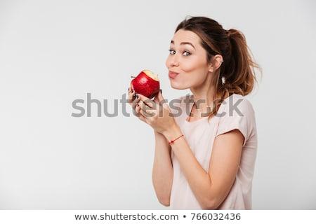 Güzel kız yeme elma eski bavul yol Stok fotoğraf © Vitalina_Rybakova