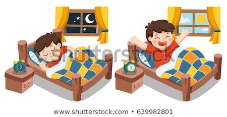 ストックフォト: 子供 · 寝 · アップ · 白 · 背景 · グループ