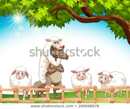 Group of sheeps with a wolf Stock photo © bluering