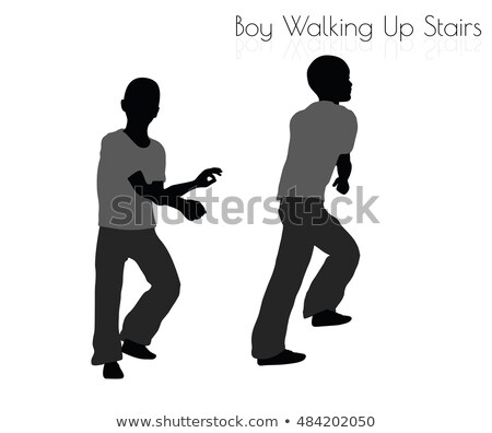 boy in Everyday Walking Up Stairs pose on white background Stock photo © Istanbul2009