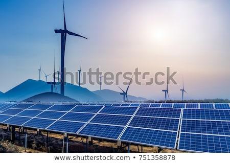 Hernieuwbare energie windturbine blauwe hemel hemel natuur Stockfoto © remik44992