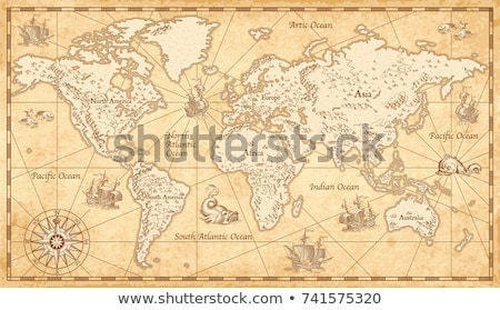 Oude kaart oude piraat kaart anker lint Stockfoto © Winner