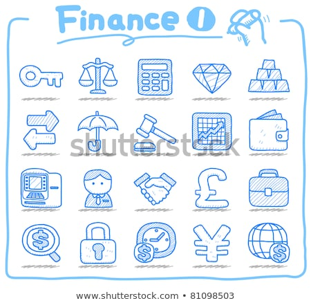 businessman with umbrella sketch icon stock photo © rastudio