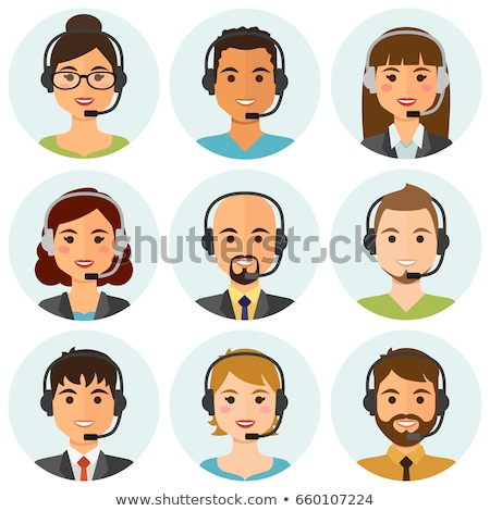 Centro de llamadas vivir chat chicos ninas sonriendo Foto stock © vectorikart