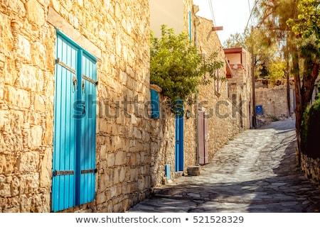 Keskeny utca falu kerület Ciprus ház Stock fotó © Kirill_M