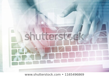 Stockfoto: Sleutel · computer · toetsenbord · teken · netwerk