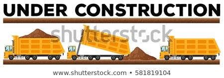 Underconstruction scene with three dump trucks Stock photo © bluering