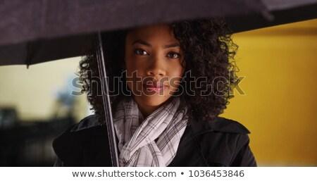 Belo africano americano mulher jovem casaco cachecol retrato Foto stock © deandrobot