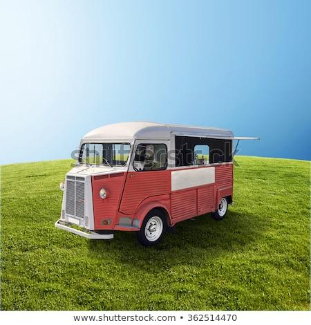 Foto stock: Vermelho · comida · caminhão · verde · campo · retro