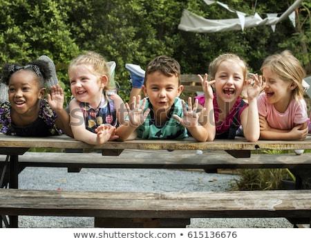 gyerek · fut · vidék · derűs · imádnivaló · szőke · nő - stock fotó © dariazu