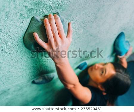 klimmen · vrouw · silhouet · hemel · muur · berg - stockfoto © monkey_business
