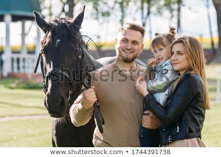 Rodziny biały konie preria morza niebo Zdjęcia stock © joyr