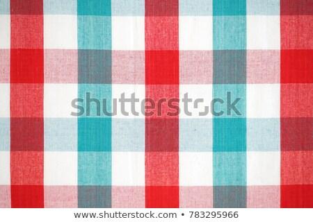 közelkép · kockás · textil · szövet · textúra · ruházat - stock fotó © szefei