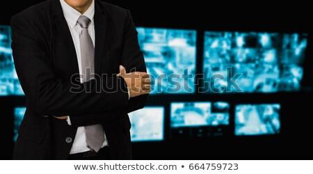 Stock fotó: üzletember · néz · cctv · filmfelvétel · számítógép · közelkép