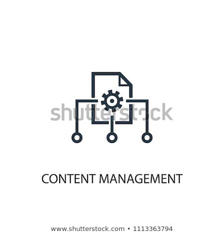 Cms icono azul contenido gestión símbolo Foto stock © Oakozhan