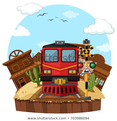 Vonat western város illusztráció tájkép művészet Stock fotó © bluering