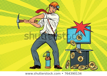 бизнесмен горно компьютер электронных деньги Поп-арт Сток-фото © studiostoks