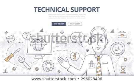 Technische ondersteuning business doodle ontwerp stijl online Stockfoto © DavidArts