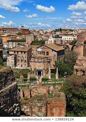 temple of romulus door in the roman forum rome italy stock photo © ankarb