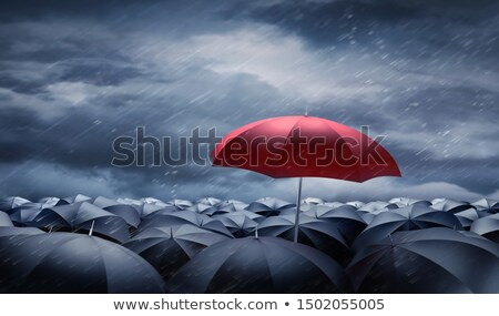 Stock photo: Red umbrella on rain