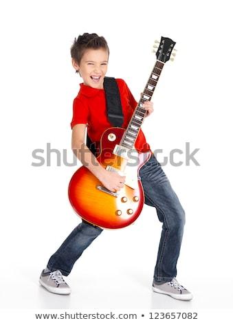 guitarra · preto · homem · rocha - foto stock © is2