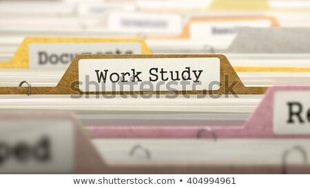 Werk studie map naam gekleurd wazig Stockfoto © tashatuvango
