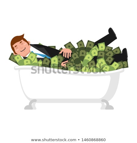 Happy businessman bath in money. bathe of cash. lucky financial Stock photo © popaukropa