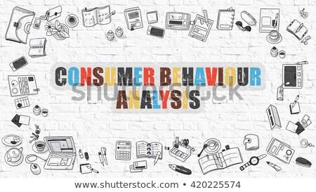 Tüketici davranış analiz beyaz karalama simgeler Stok fotoğraf © tashatuvango