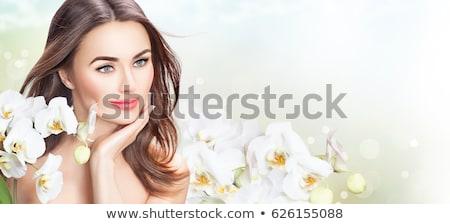 Orchidea szemtől szembe orchideák izolált fehér növény Stock fotó © asturianu