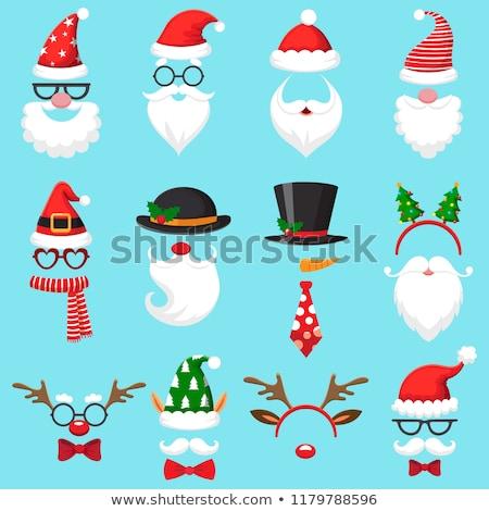Hat борода красный носа маске Дед Мороз Сток-фото © orensila