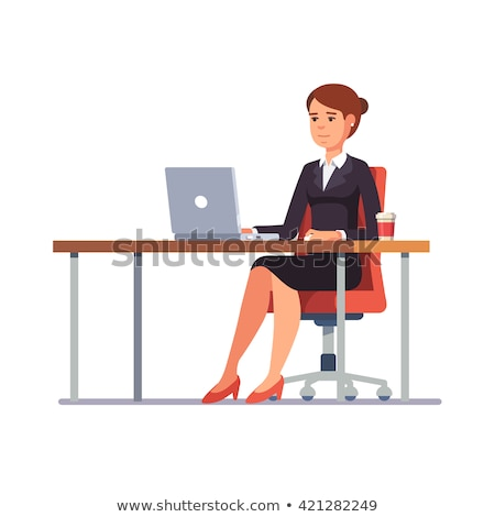 3D Business woman working at office with a laptop Stock photo © texelart