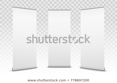 Blank rollup banner display. Template mockup. 3D Stock photo © user_11870380