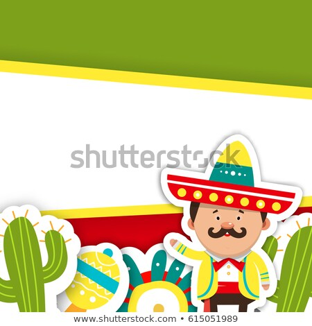 Sticker template for Cinco de mayo with red chili Stock photo © bluering