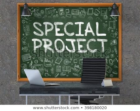 new project   doodle illustration on green chalkboard stock photo © tashatuvango