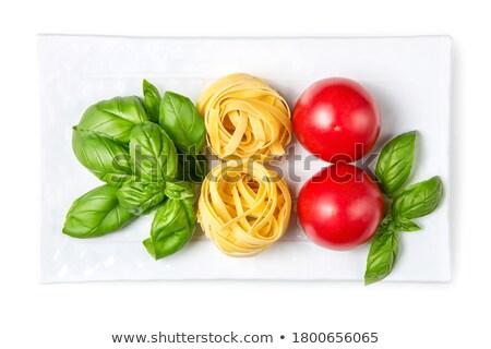 Italië vlag ingrediënten voedsel basilicum pasta Stockfoto © popaukropa