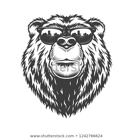 black and white bear logo vector illustration stock photo © vicasso