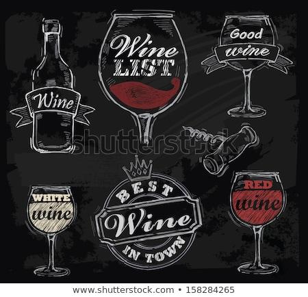 Red wine glass and chalkboard Stock photo © karandaev